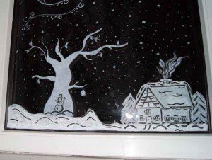 fensterbilder mit kreidestifte - weihnachten - apfelkiste