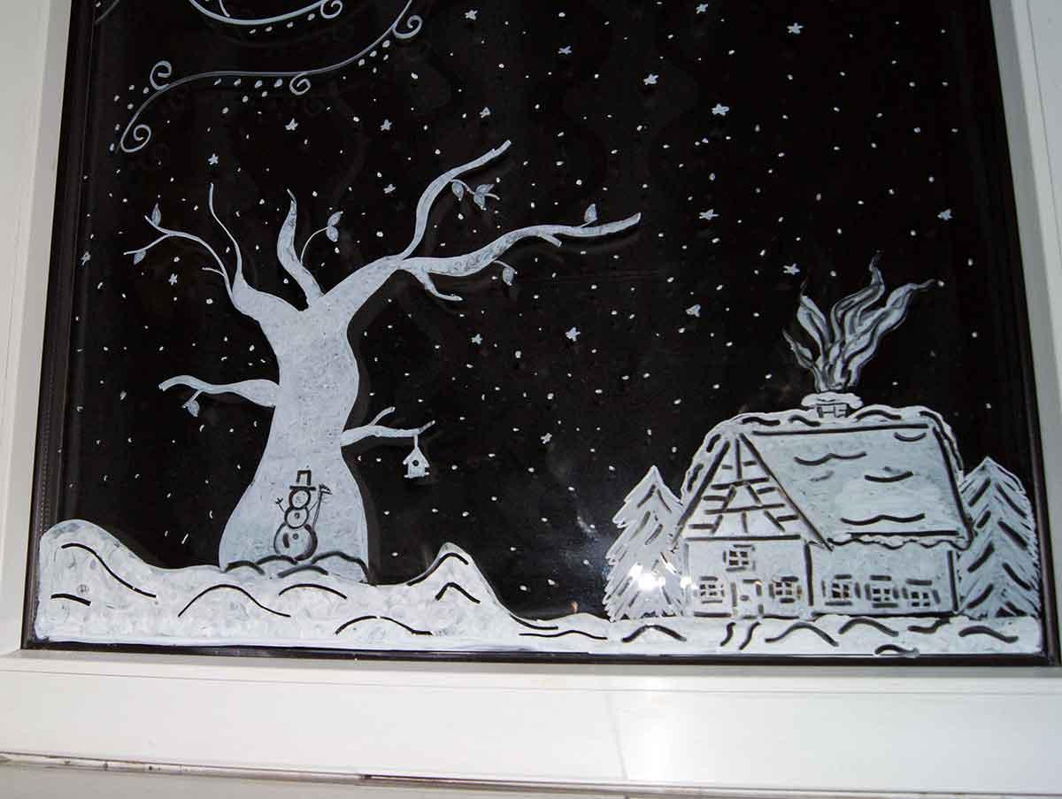 Apfelkistenetfensterbilder Mit Kreidestifte Weihnachten