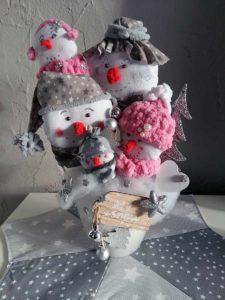 Winterdeko - Schneemänner im Blumentopf